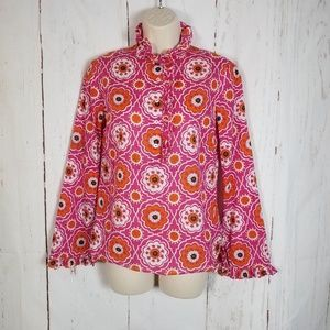 Tory Burch 2 Ruffled Blouse Floral Medallion